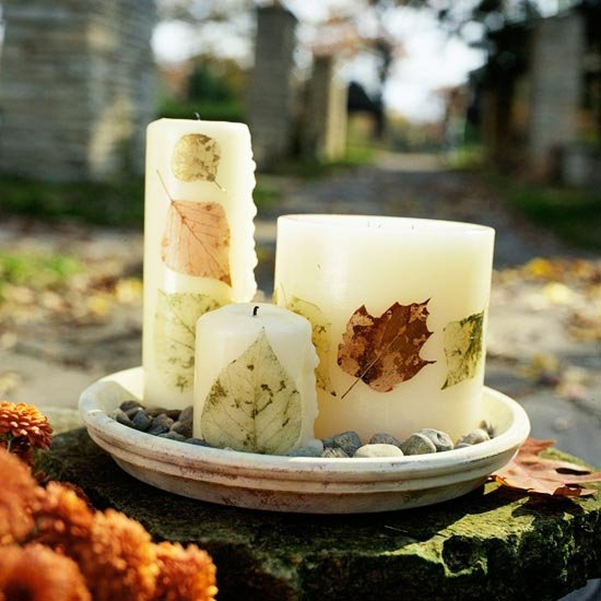 idee-bougies-deco-feuilles